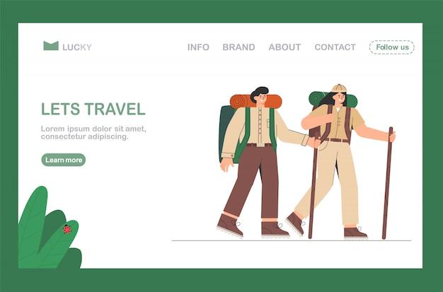 Voyage de randonnée, homme et femme partent en montagne avec des sacs à dos.