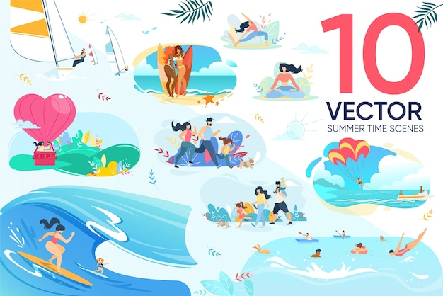 Voyage Romantique, Repos Au Complexe, Ensemble De Visite De Remise En Forme Vecteur Premium