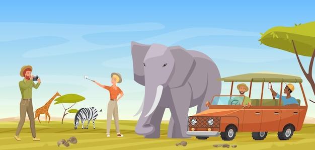 Voyage safari africain aventure homme femme voyageurs faisant une photo de selfie avec un éléphant