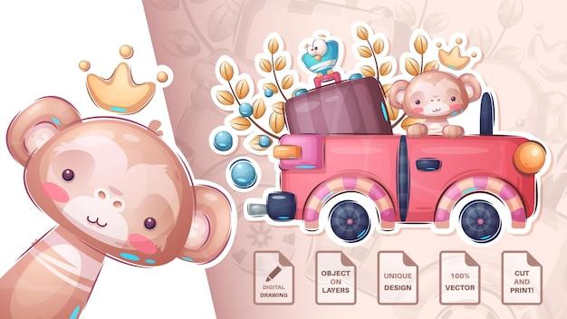 Voyage de singe dans la voiture - autocollant mignon