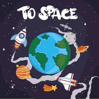 Voyage spatial exploration planète fusée