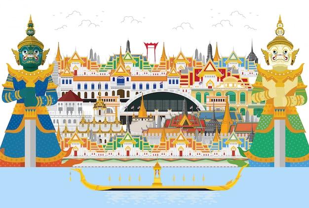 Voyage en thaïlande et géant des gardiens en thaïlande et monuments,