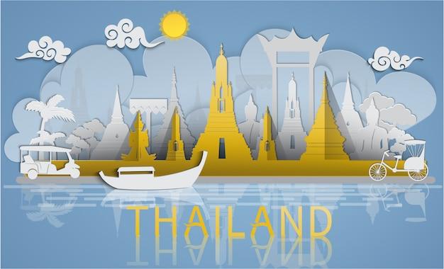 Voyage en thaïlande vers des sites célèbres et une attraction touristique de la thaïlande avec un style de papier découpé