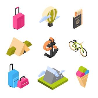Voyage et tourisme ensemble d'icônes isométriques logos d'été colorés