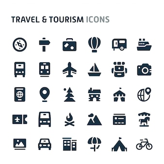 Voyage et tourisme icon set. série d'icônes fillio black.