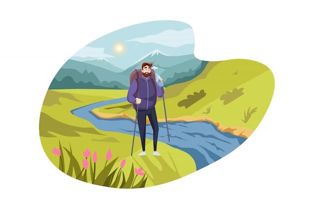 Voyage, tourisme, nature, concept de randonnée