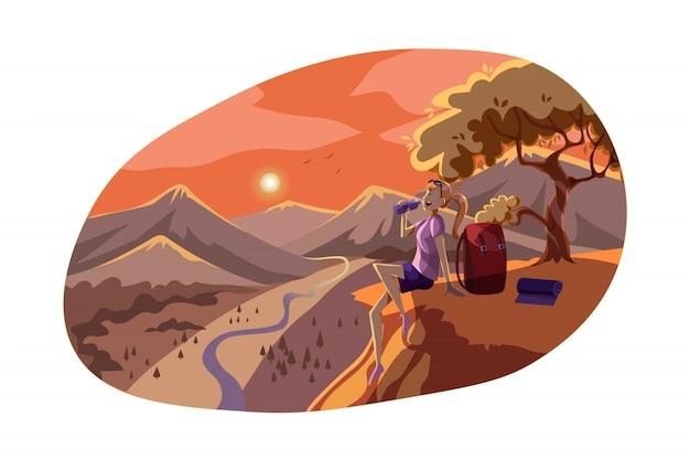 Voyage, tourisme, repos, nature, concept de randonnée