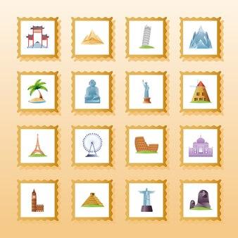 Voyage, tourisme et vacances timbre monument monument mondial icônes illustration