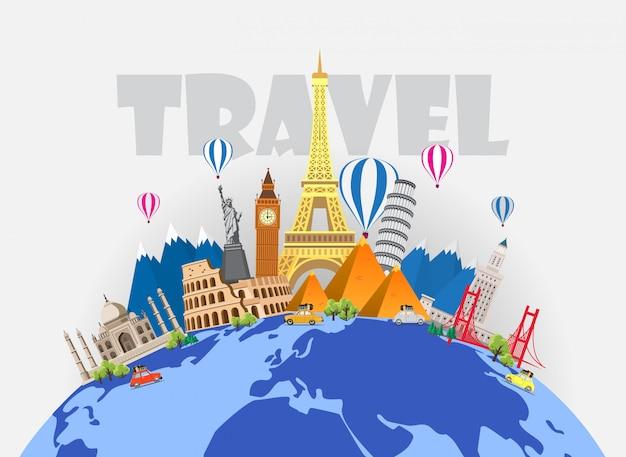 Voyage à travers le monde. voyage en voiture. grand ensemble de monuments célèbres du monde. temps de voyage, tourisme, vacances d'été. différents types de voyages