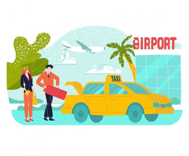 Voyage de vacances à l'aéroport de vacances en été, jeune couple homme et femme prenant les bagages du taxi à l'aéroport, illustration plate de tourisme.