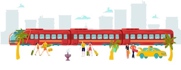 Voyage de vacances autour du train du monde, touriste chaud, monde pèlerin, bagages, illustration. tourisme de vacances d'été, thème du congé, emplacement de l'itinéraire d'objet, extérieur.