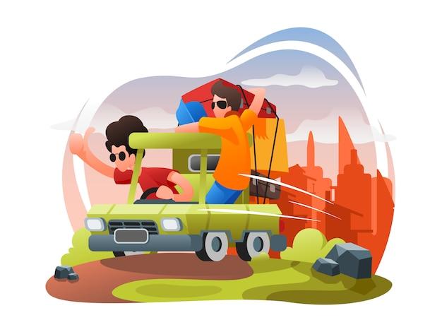 Voyage, vacances, plat, illustration