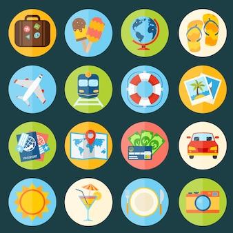 Voyage, vacances, vacances, icônes, ensemble, valise, globe, glace, isolé, vecteur, illustration