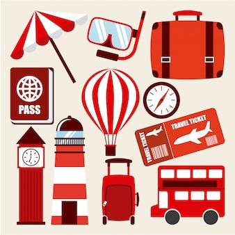 Voyage De Vacances Vecteur Premium