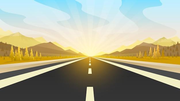 Voyage en voiture. paysage infini au coucher du soleil