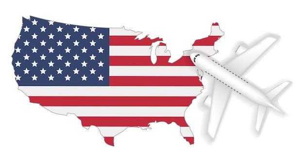 Voyage de vol d'avion à l'amérique drapeau carte