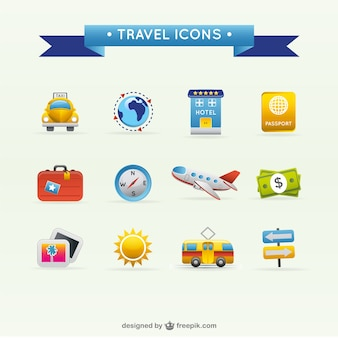 Voyage voyage vecteur icônes matériel