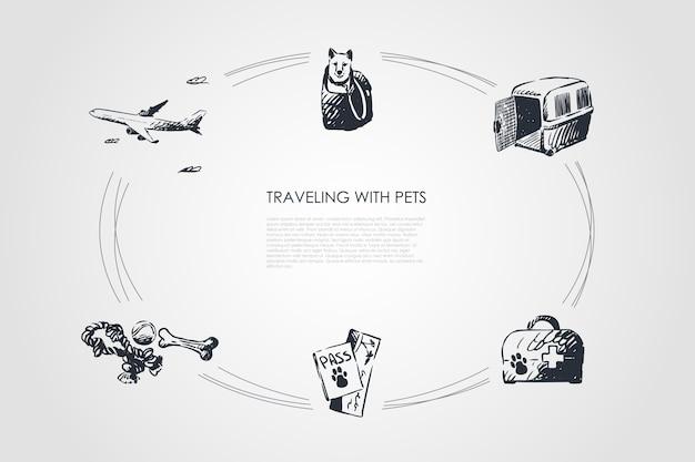 Voyager avec des animaux de compagnie concept set illustration