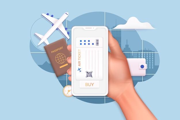 Voyager en avion pour planifier un tourisme de vacances d'été concept de billet en ligne