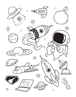 Voyager dans l'espace doodle