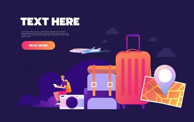Voyager dans le monde, aventure dans le monde entier, concept de voyage autour du monde, page web d'atterrissage avec concept d'infographie,