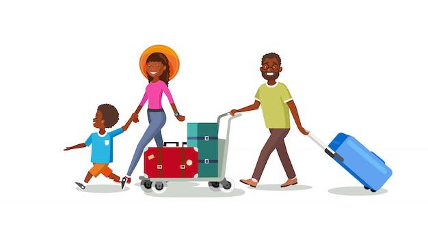 Voyager en famille avec un vecteur de dessin animé de chariot à bagages