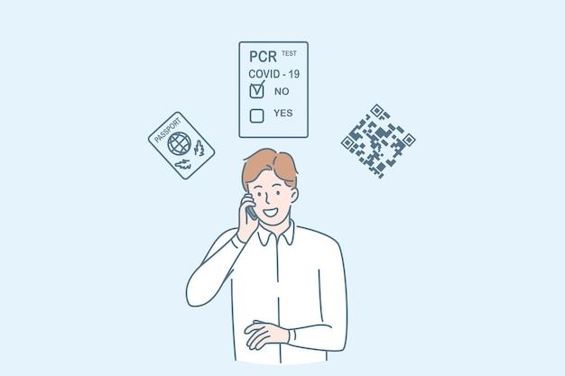 Voyager pendant le concept de pandémie de covid-19. jeune homme d'affaires souriant debout souriant parlant au téléphone ayant un test de coronavirus négatif pour illustration vectorielle de voyage d'affaires