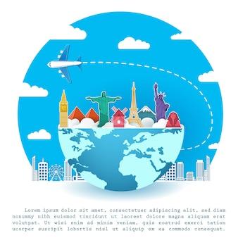 Voyages en avion autour du monde.