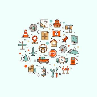 Voyages en avion, vacances en centre de villégiature, planification de visites touristiques, repos récréatif, symboles plats de la ligne de voyage de vacances. pictogramme de logo d'infographie moderne