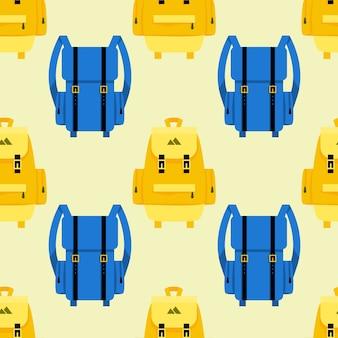 Voyages et modèle sans couture de tourisme avec des sacs à dos. sac et objet, bagages et bagages.