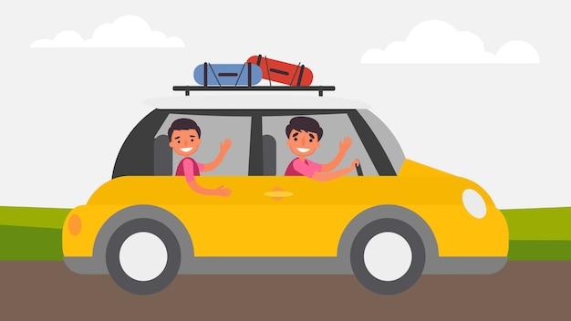 Voyages sur la route activités père-fils le lien familial parfait passe du temps ensemble. les enfants sont essentiels à leur croissance et à leur développement ainsi qu'au type d'humain. illustration en style cartoon plat