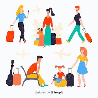 Voyageur coloré dans différentes situations ensemble