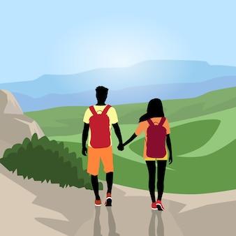 Voyageur couple silhouette randonnée montagne sommet vallée