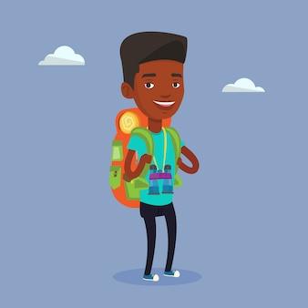 Voyageur gai avec sac à dos.