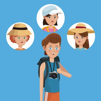 Voyageur de garçon voyageur avec photo appareil photo filles amis