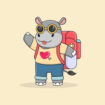 Voyageur hippopotame mignon avec lunettes de soleil et sac à dos