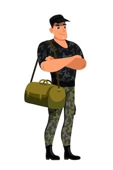 Voyageur homme militaire avec sac debout isolé sur blanc