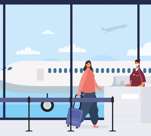 Voyageur de jeune femme avec valise