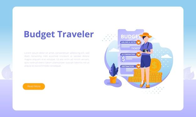 Voyageur à petit budget pour un modèle de page de destination sur le secteur des voyages