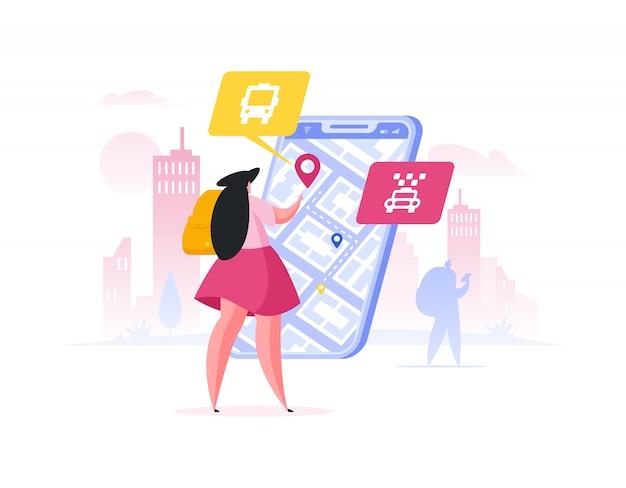 Voyageur planifiant l'itinéraire dans l'application pour smartphone. illustration de personnes de dessin animé