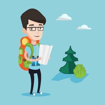 Voyageur avec sac à dos en regardant la carte.