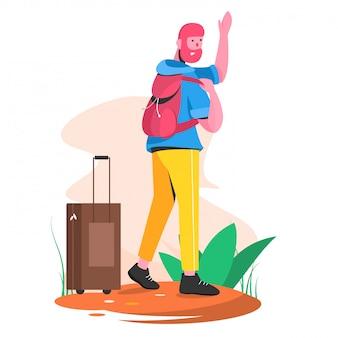 Voyageur avec sac et étui illustration