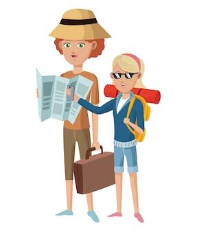 Voyageur touristique de deux femme avec des lunettes de chapeau carte valise