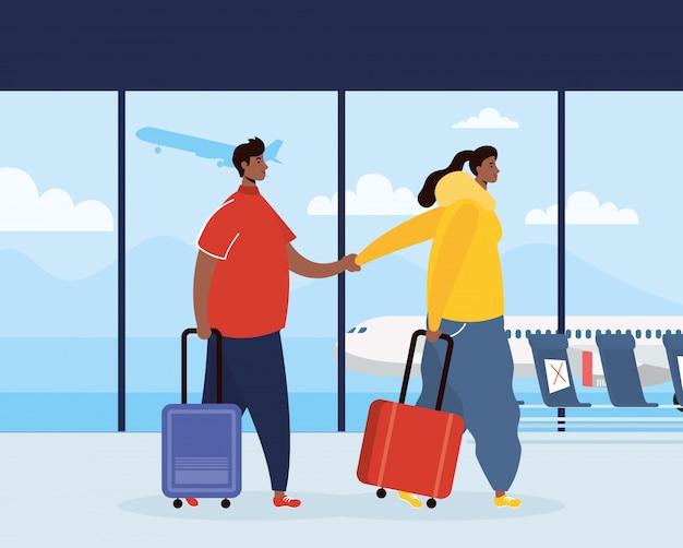 Voyageurs en couple afro avec valises