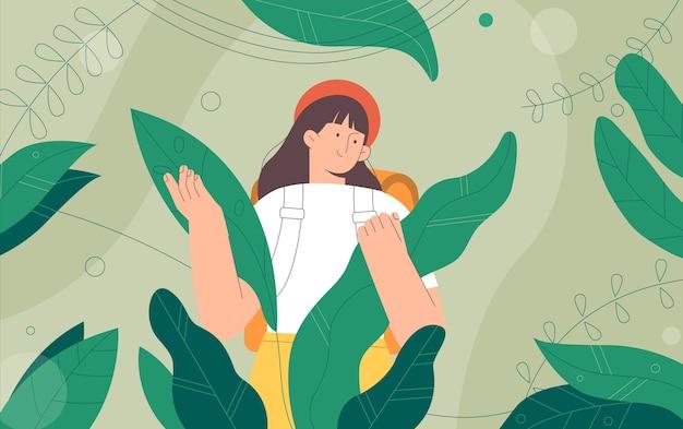Voyageurs explorateurs dans la jungle de grandes feuilles vertes