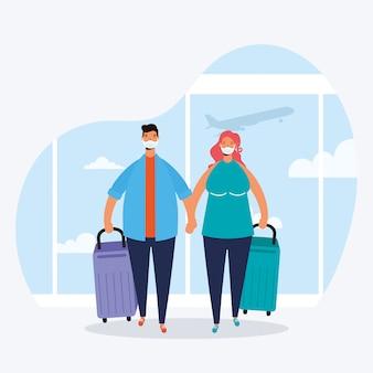 Voyageurs jeune couple avec valises