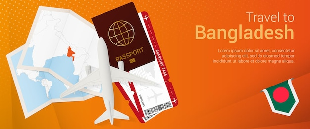 Voyagez au bangladesh sous la bannière pop-under. bannière de voyage avec passeport, billets, avion, carte d'embarquement, carte et drapeau du bangladesh.