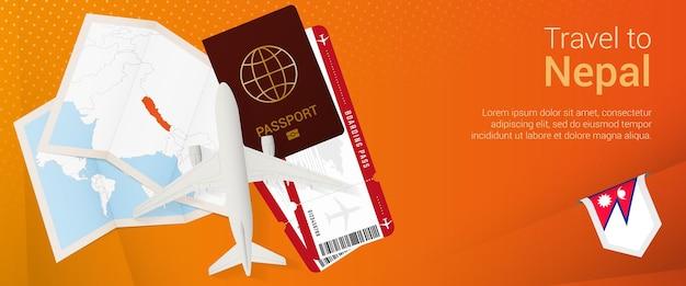 Voyagez au népal sous la bannière pop-under. bannière de voyage avec passeport, billets, avion, carte d'embarquement, carte et drapeau du népal.