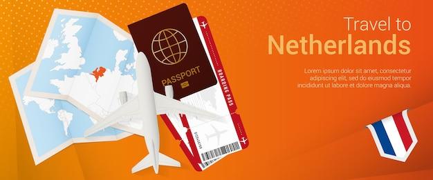 Voyagez aux pays-bas sous la bannière pop-under. bannière de voyage avec passeport, billets, avion, carte d'embarquement, carte et drapeau des pays-bas.