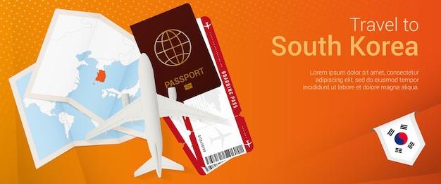 Voyagez en corée du sud sous la bannière pop-under. bannière de voyage avec passeport, billets, avion, carte d'embarquement